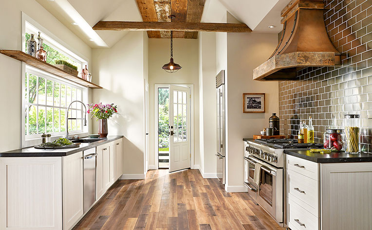 wood floors in white kitchen